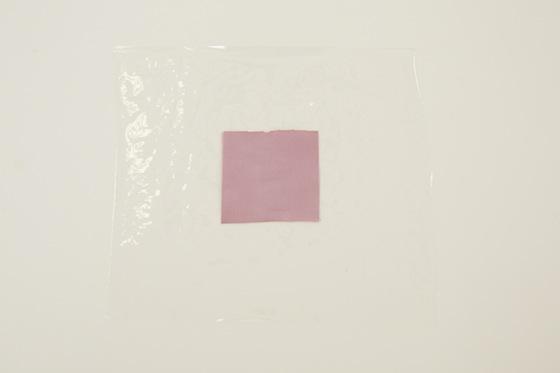 赤ワインがついた試験布を、ラップの上にのせます。