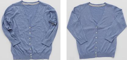 収納じわのついたセーターとしわ取り消臭スプレー処理後のセーター