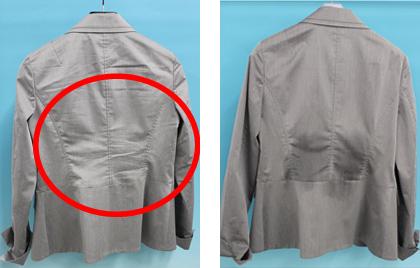 (左) 着用でついたしわ (右) スプレー後のジャケット