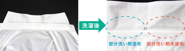 エリ部分が汚れたワイシャツ洗濯後のエリ部分の汚れ落ちの比較