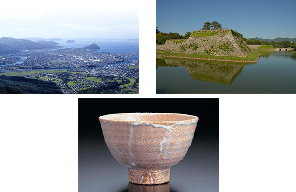 左上)萩市の地形 右上)萩城跡 中下)萩焼