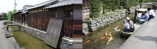 写真:左)旧湯川家屋敷 右)藍場川
