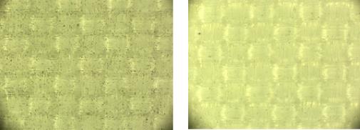 (左) 静電気防止スプレーを使用していない布 (右) 静電気防止スプレーを使用した布