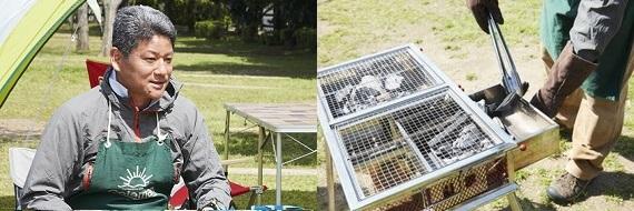 写真:炭の準備について話す竹島さん