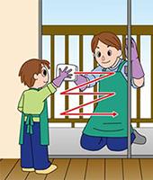 窓ガラスの掃除 「分担して、両面から同時進行」