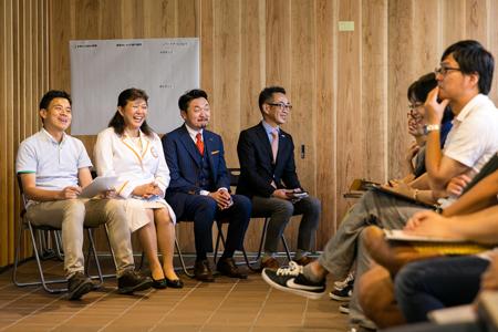 﨑田市長、杉本氏、松本講師、西村理事長