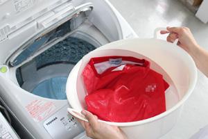 洗剤液ごと洗濯機で洗う